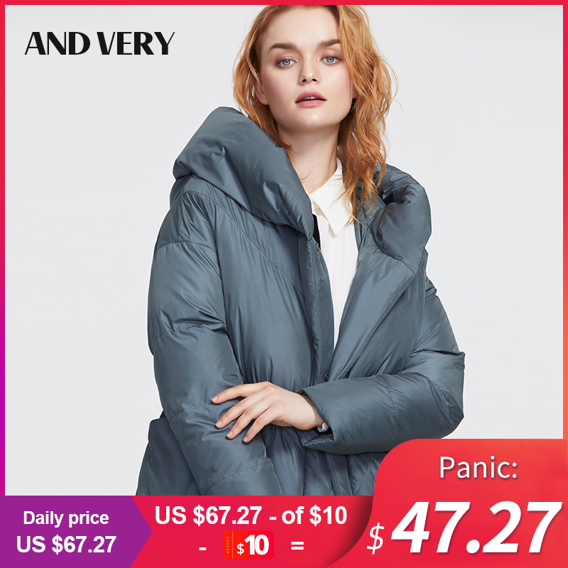 ANDVERY 2019 Winter new arrival down jacket women coat fashion style a hood color blue winter long   Parka   coat for ladies 9909
