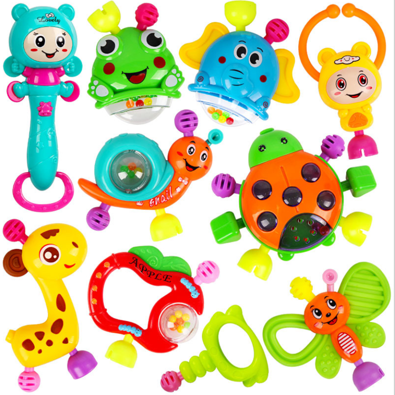 8PCS เด็กของเล่นพลาสติก Hand Jingle สั่นกระดิ่ง Hand Shake กระดิ่งกระดิ่ง Rattles ของเล่นเด็กทารกแรกเกิด 0- 12 เดือนของเล่น Teether