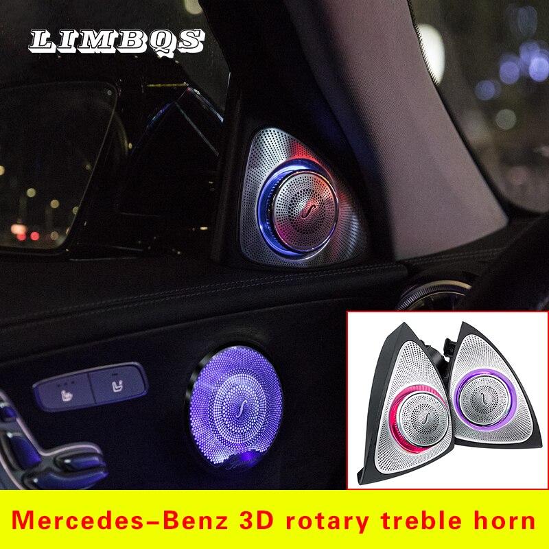 Luz LED de tweeter giratoria de 64 colores para luces de ambiente W213 para Mercedes benz Clase E, altavoces agudos laterales de puerta izquierda y derecha para cocheBocinas multitono y claxon   -