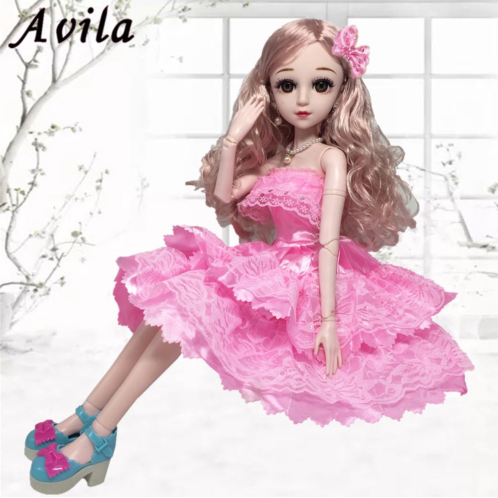 Object For Girl 60cm Dolls Dress Laceed Skirt Beautiful Princess Dress Pink Flower Wear For 60cm Doll Clothes