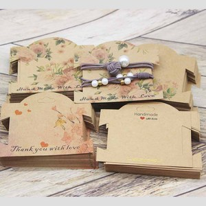 50Pcs kraft paper For YOU Hairpin Card 9*10cm flower design Jewelry Display Cards DIY THANK YOU hairclip ornaments package