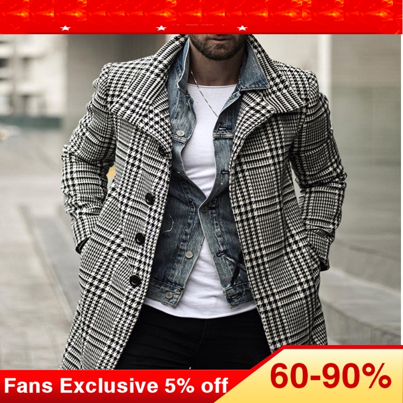 Plus Size Plaid Trench Coat Men European Retro Fashion Single Breasted Black Long Men's Winter Coat Outwear Overcoat M-3XL