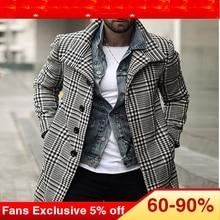 Plus Size Plaid Trench Coat Men European Retro Fashion Singl