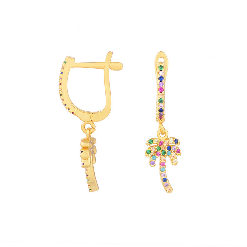 European Rainbow drop Earrings jewelry for Women Gold Copper cz Earrings big cactus bears Lips tassel Earrings 2019