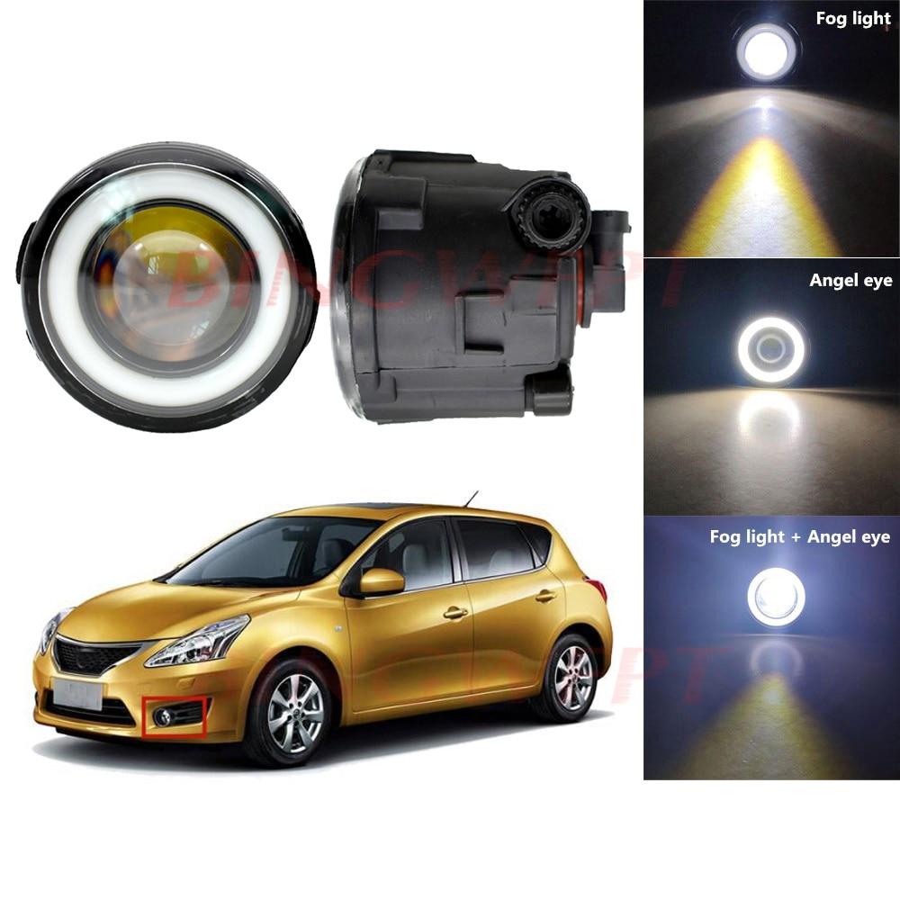 2PCS For Nissan Tiida Hatchback C11x Car H11 LED Bulb Fog Light Angel Eye 12V Car