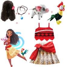 Vestido de princesa para niñas, ropa de fiesta, disfraz de Moana, con collar, con cerdo de mascota