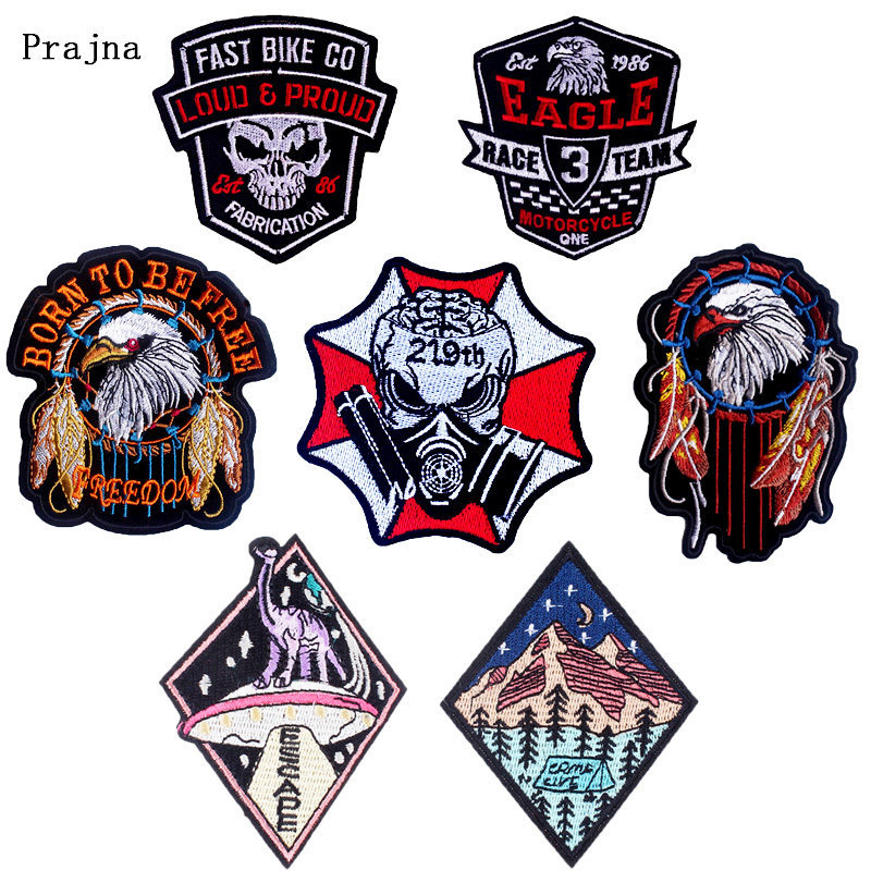 Prajna DIY Dinosaur Badge Patch On Clothes Stalker Ironing Cheap Embroidered Patches For Appliques Jacket Decor