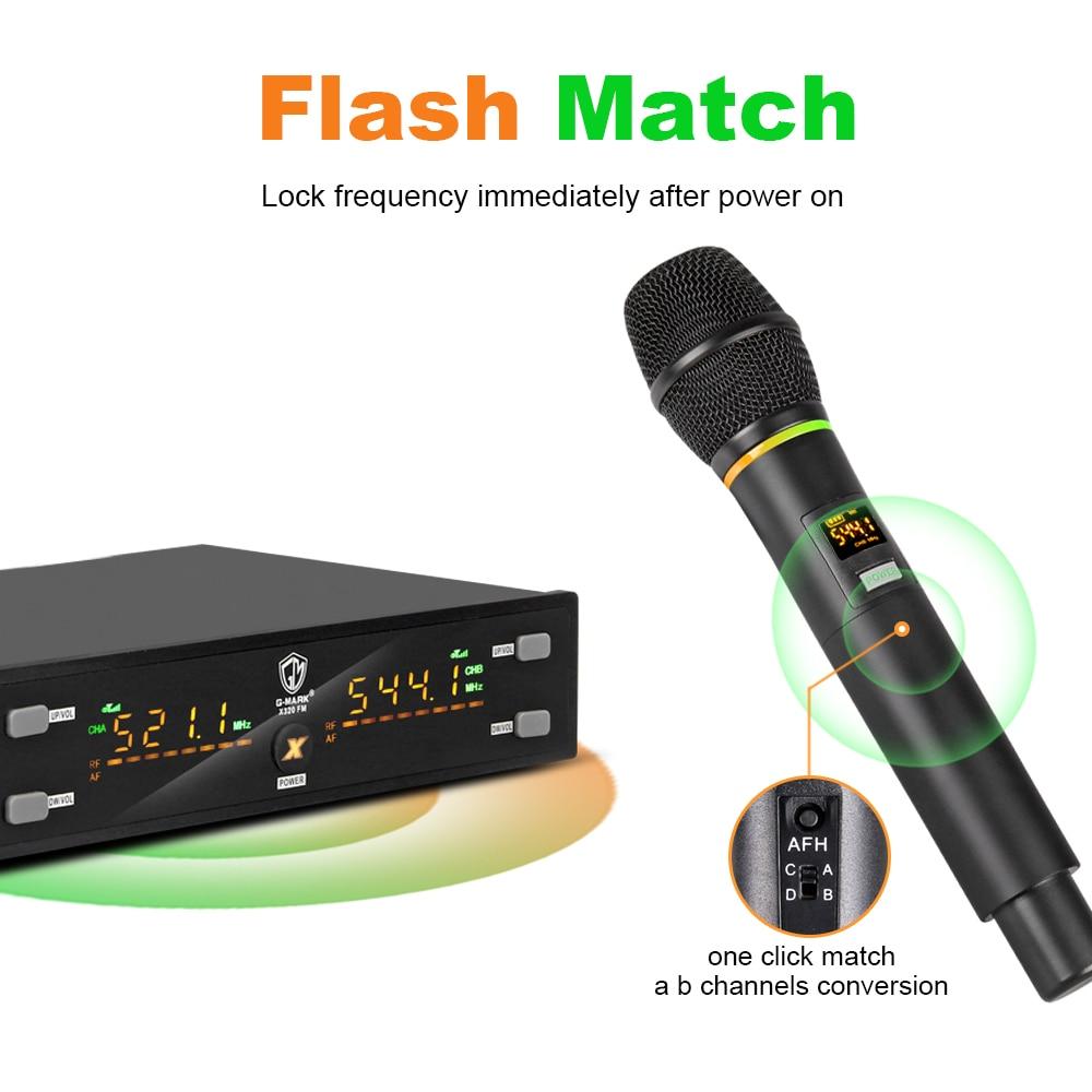 Micro sans fil G-MARK X320FM UHF professionnel portable karaoké dynamique micro fréquence réglable corps en métal 80M son clair