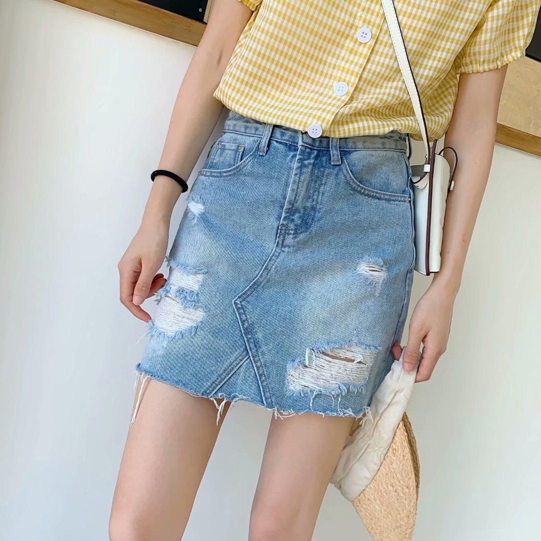 P0-9822 Retro With Holes Denim Skirt