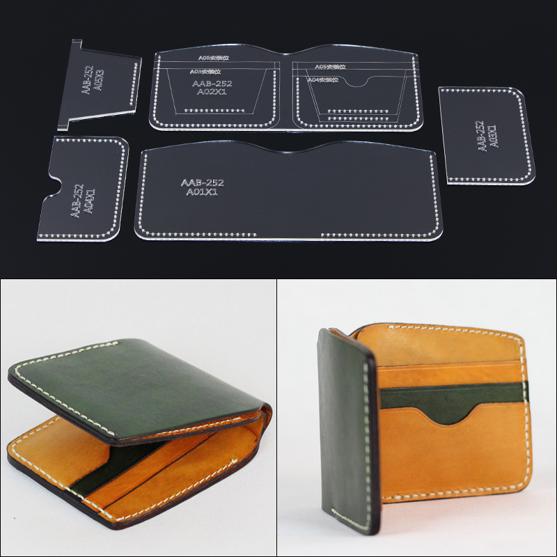 1Set DIY Acrylic Template New Multifunction Short Wallet Leather Craft Pattern DIY Stencil Sewing Pattern 11cm*9.5cm