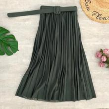 Simplee Fashion A-line women pleated skirt Stripe loose 20 color skirt With belt Elegant British style skirt Autumn winter 2020