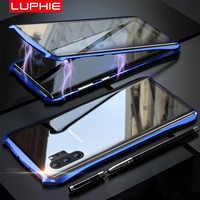 Luphie étui pour samsung magnétique Galaxy Note 10 Plus pour iphone 11 Pro Max plein avant + arrière 9H verre trempé aimant métal couverture