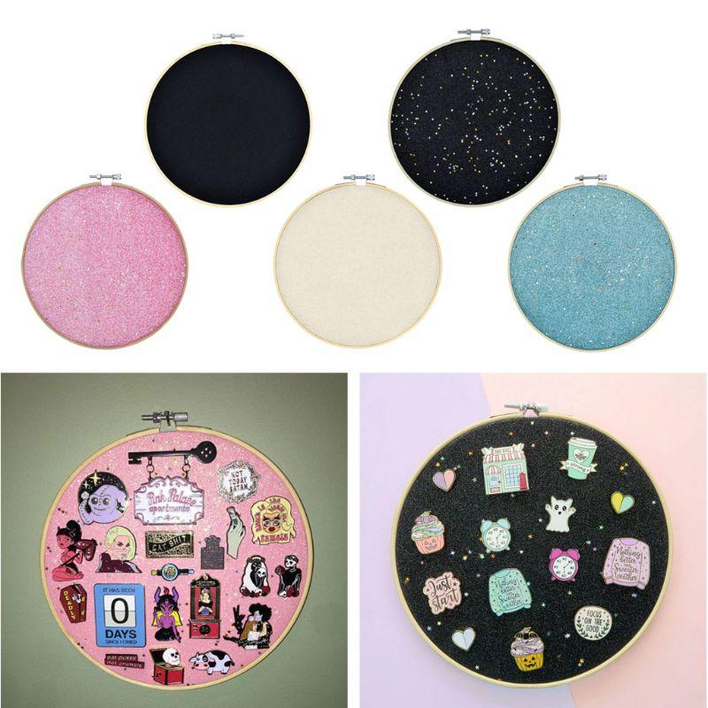 Badge Brooch Display Wall Hanging Pin Display Glitter Board Pin Holder Pin Collection Display Embroidery Hoop