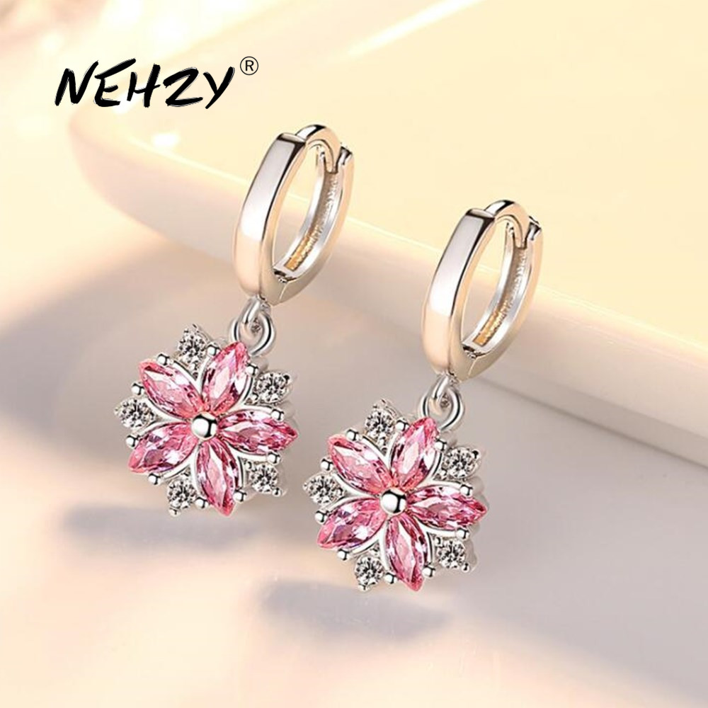 NEHZY 925 Sterling Silver Earrings High Quality Jewelry Woman Fashion New Pink Crystal Zircon Retro Flower Style Hot Earrings