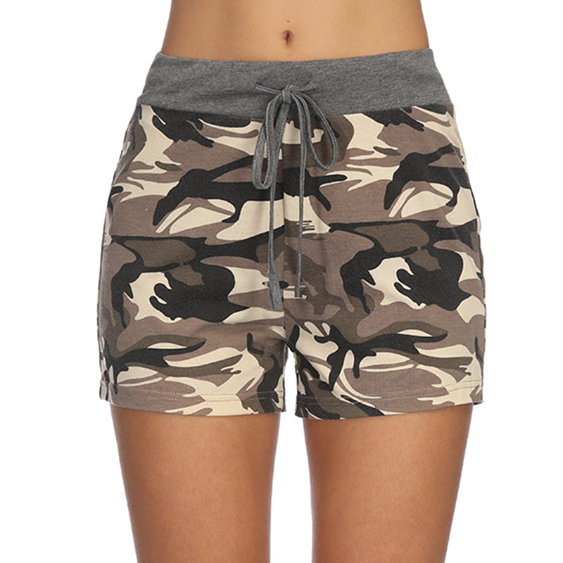 Womens Summer Casual Splicing Drawstring Shorts High Waist Camouflage Printed Short Pants Femele Trousers