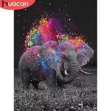 HUACAN – peinture diamant thème éléphant, autocollant mural 5d, broderie d'animaux en point de croix, décoration de maison, Art du diamant, DIY bricolage