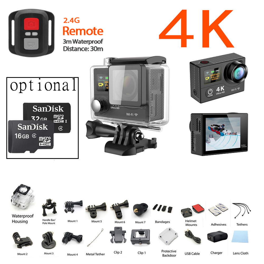 H3 4K 25FPS ultra plus Cam WIFI Upgrade Action cam H8se two double dual screen H3R go Sport sj pro 4 hero Camera