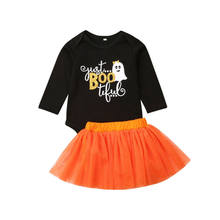 Newborn Baby Girl Kid Clothes Sets Pumpkin Rompers Tops Tulle Tutu Skirts 1st Halloween Costume Outfits Set(China)