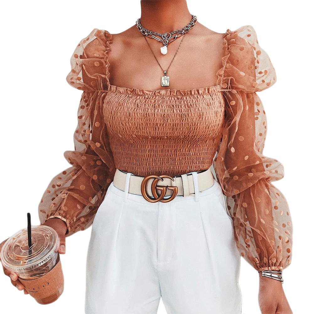 Shirt Mesh Sleeve-Wrap Dots Blouse Chest-Tops Sheer-Puff Sexy Women Ladies Summer Wrinkled title=