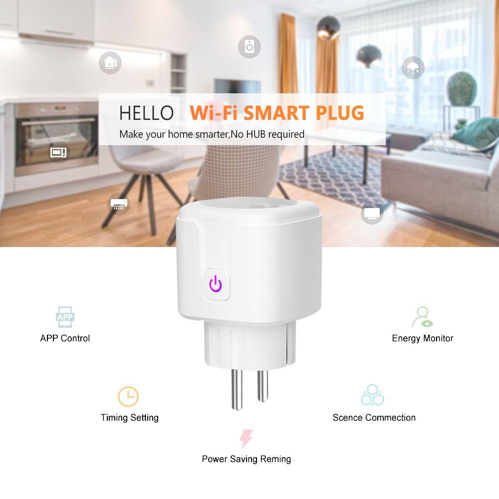 16A Tomacorriente Inteligente Remote Control Power Socket Outlet Smart Plug Wifi Eu With Alexa Google Home Tuya App