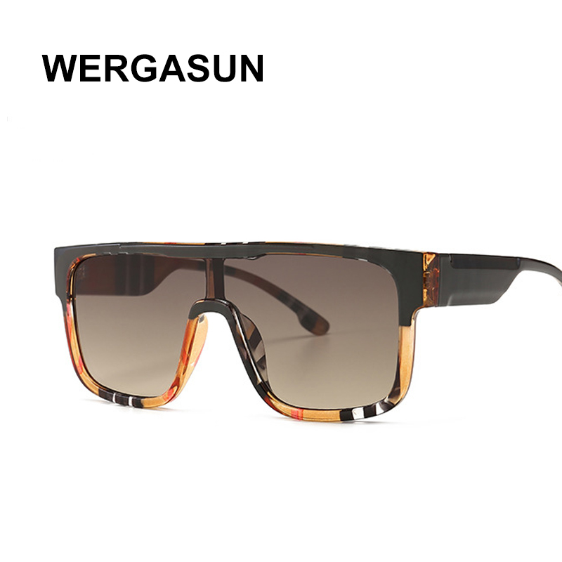WERGASUN sunglasses women vintage retro flat top Shadow oversized square sunglasses luxury brand large shades UV400