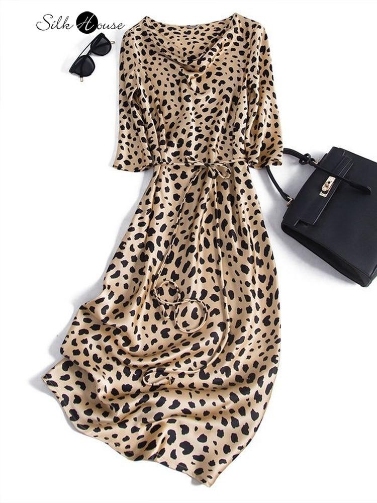 Fashionable Fine Leopard Twill Pure Silk Mulberry Silk Slim Dress Women's 2020 Fashion Style