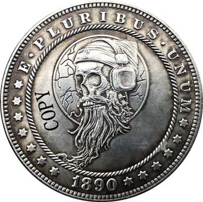 Hobo Nikkel 1890-CC Vs Morgan Dollar Munt Copy Type 167