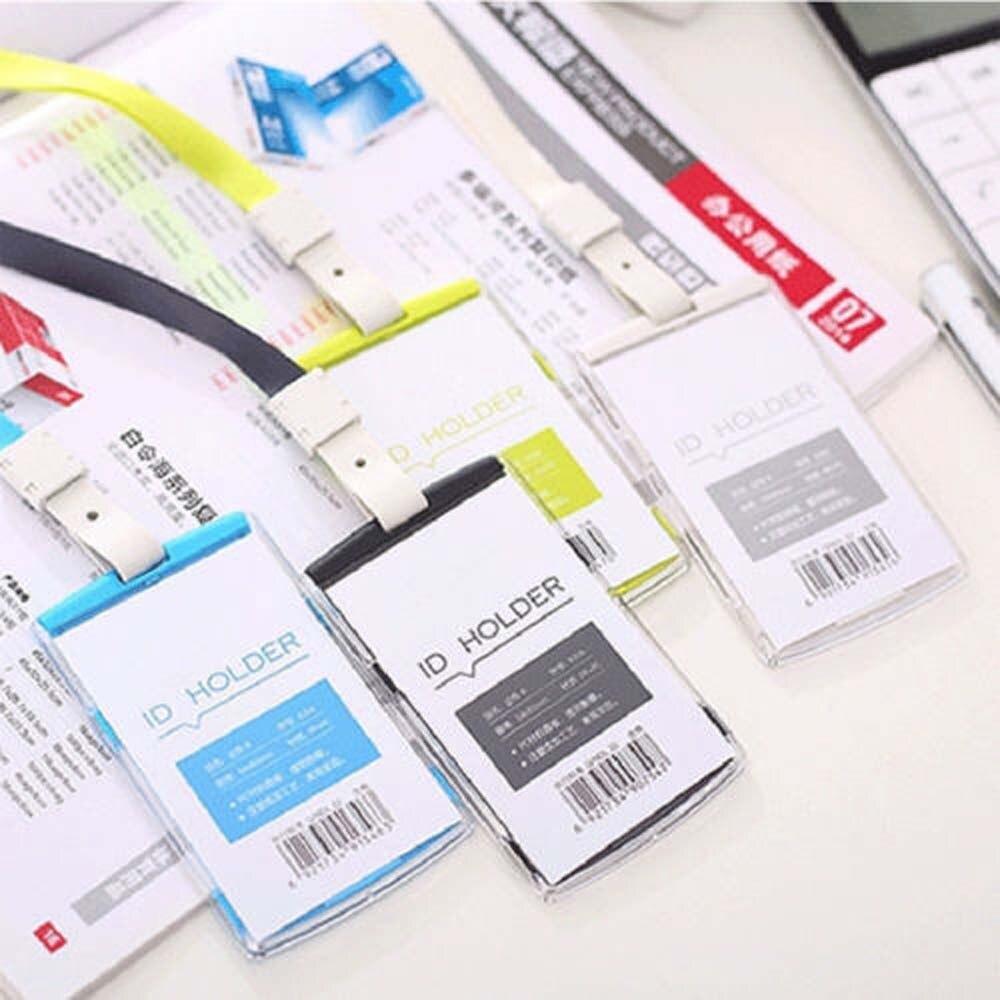 1Set Credit Identity Card Badge Tag Holder Hard Plastic Pocket Pass Case Neck Strap Lanyard School Office Supply