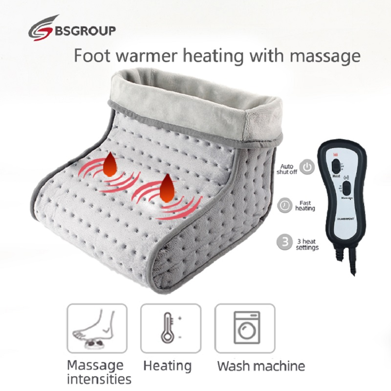 220-240V Microwave Heating Pad Electric Heated Massager Foot Warmer Booties Two Motors High/Low Vibrating Shoes Washable EU Plug