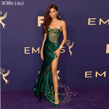 Sexy Green Long Prom Dresses See Through High Slit Satin Wed