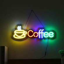 LED Coffee Neon Sign Light Tube Bar Club KTV Wall Decoration Commercial Lighting Neon Bulbs hang Chain Handmade Visual Artwork(China)