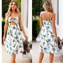 Ukraine Promotion Vestido De Festa 2019 Summer Print Pineapple Sling European And American Dress Sleeveless Bohemian Sexy Women
