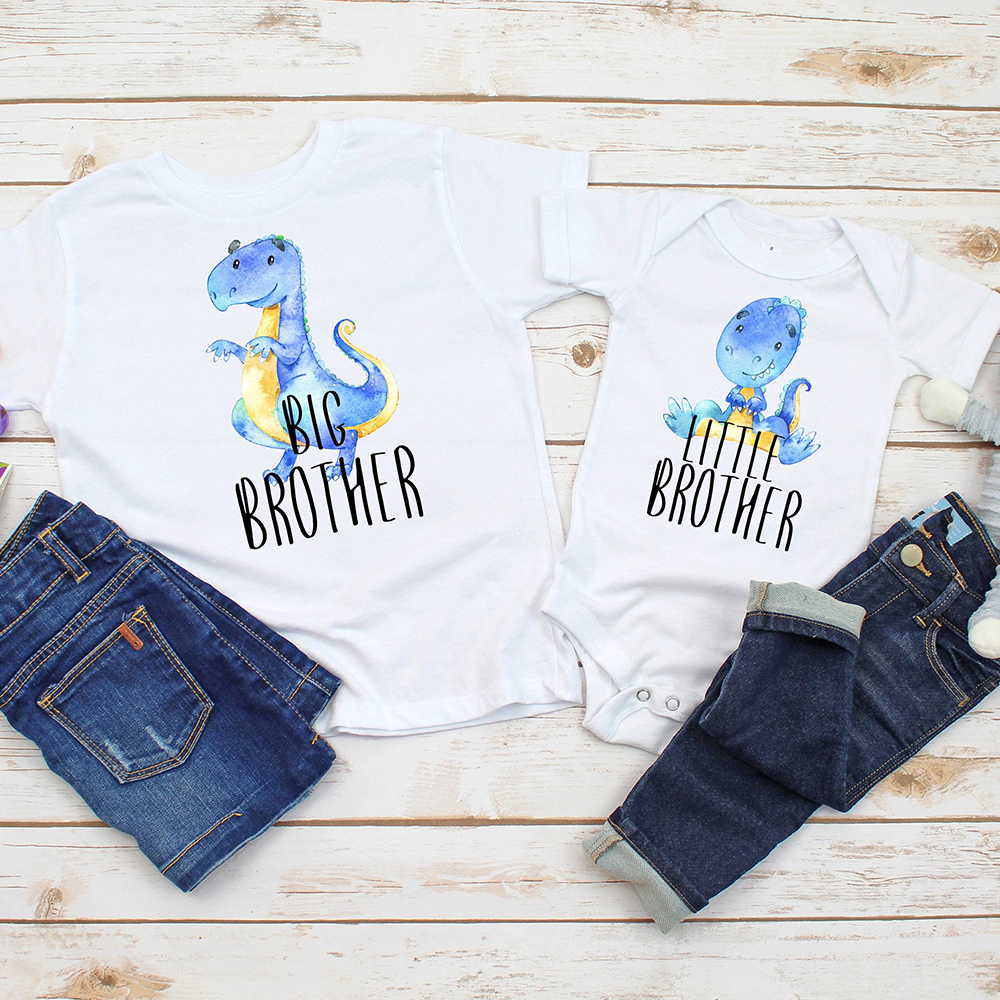 1PC Dinosaur Big Brother Little Brother Shirt Brother Tops Sibling Shirts Coming Home Outfit Baby Bodysuit Big Brother Tees