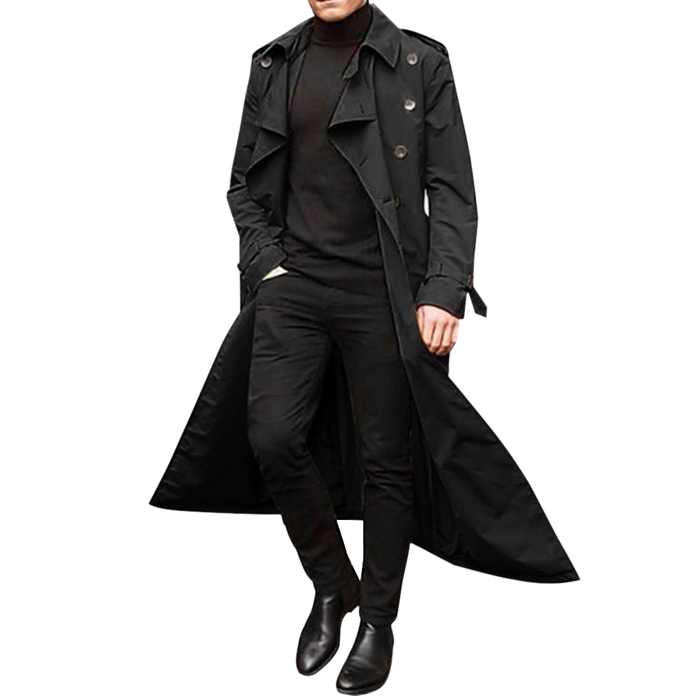 Hc1fdd499663d46edbe926b1803a51350v HEFLASHOR 2019 Long Trench Coat Men Solid Classic Winter Jacket Men Casual Loose British Style Trench Overcoat Streetwear Coat