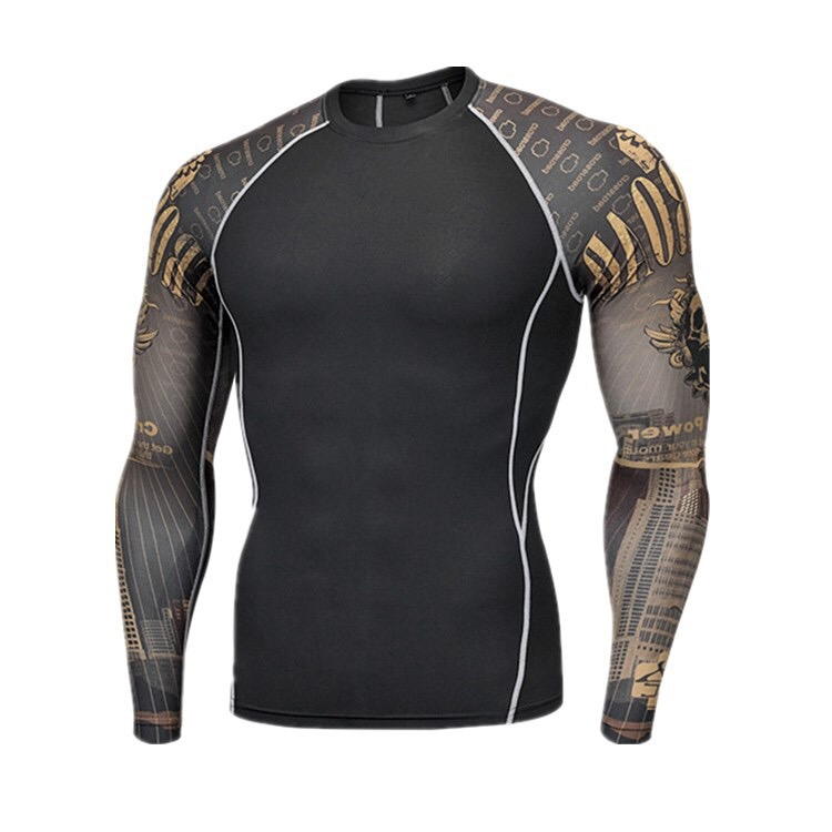 Rashguard T Shirt Sportwear MENS MMA TRUNKS   Sublimated Print Bjj Boxing  Jiu Jitsu Gi Rash Guard Breathable Muay