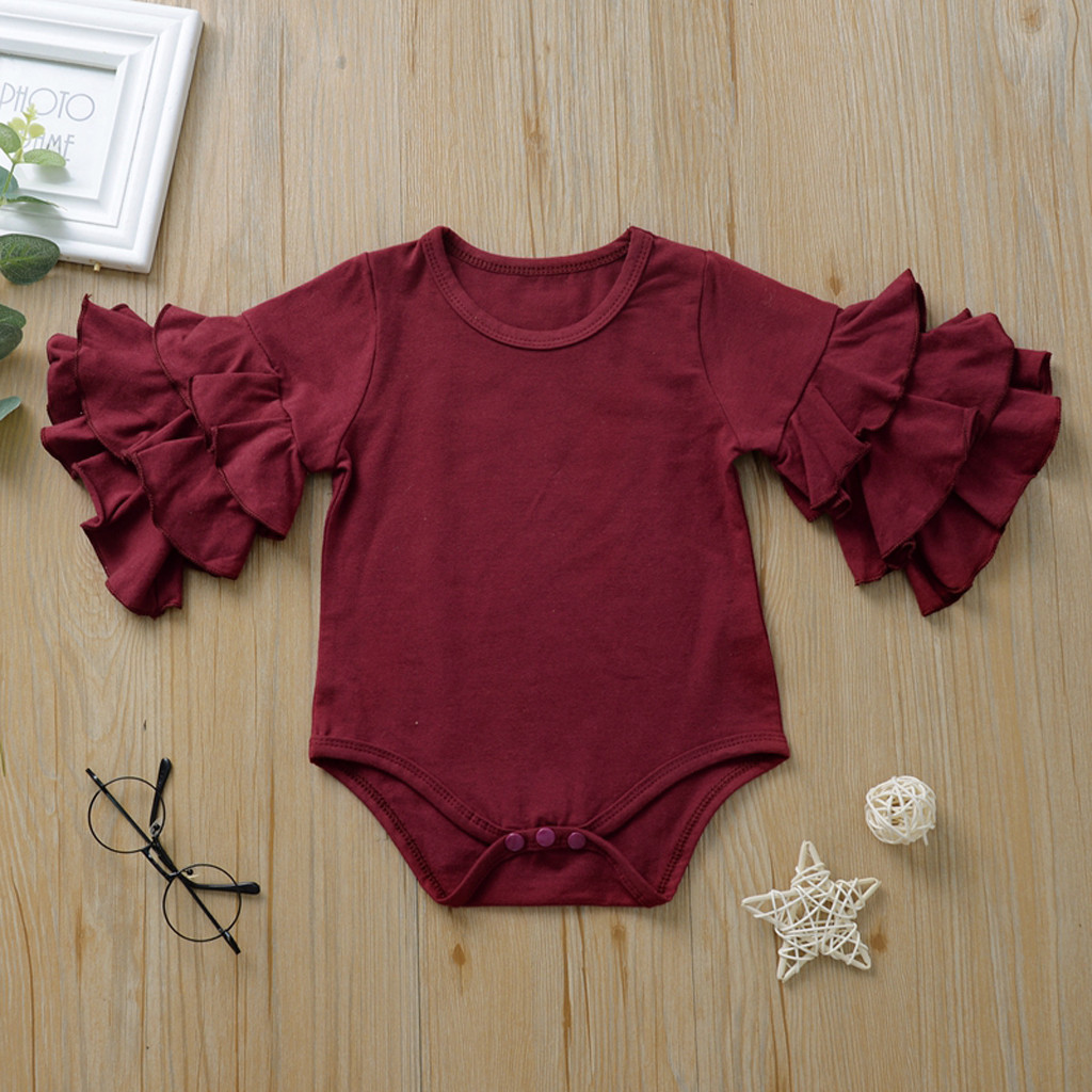Baby Bodysuit Long Sleeve Baby Body Neonato Clothes Baby Girl Onesie Funny Bodies Solid Double Ruffles Casual Clothes 6-24m Z4