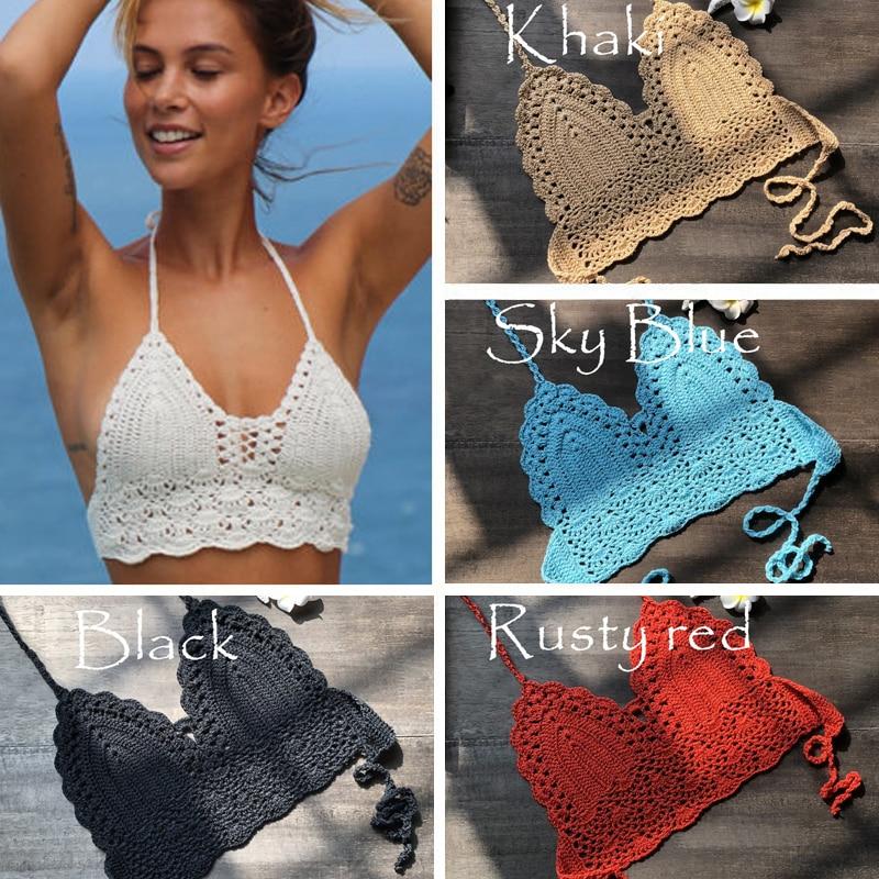 2020 New Triangle Bikini Top Woman Hollow Out Swimsuit Crochet Black Bikini Top Sexy Swimming Bra Large Female Swimwear S M L XL
