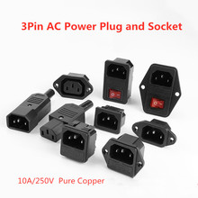 цена на Electrical AC Socket IEC320 C14 3 pin Red LED 250V Rocker Switch 10A Fuse Female Male Inlet Plug Connector 2 pin Socket Mount
