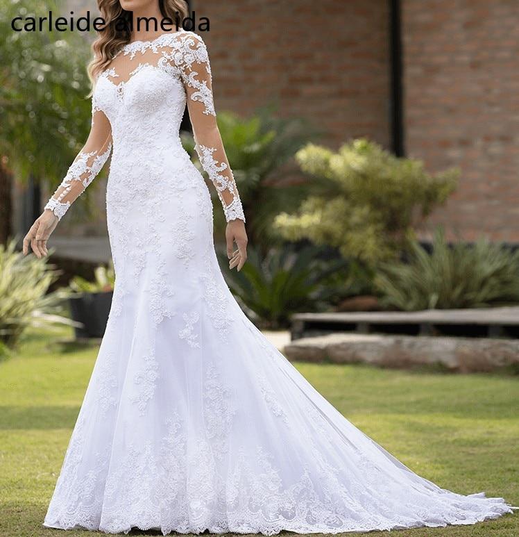 Sheer Tulle Back Long Sleeves Vintage Wedding Dress Lace Appliques Pearls Mermaid Wedding Dresses