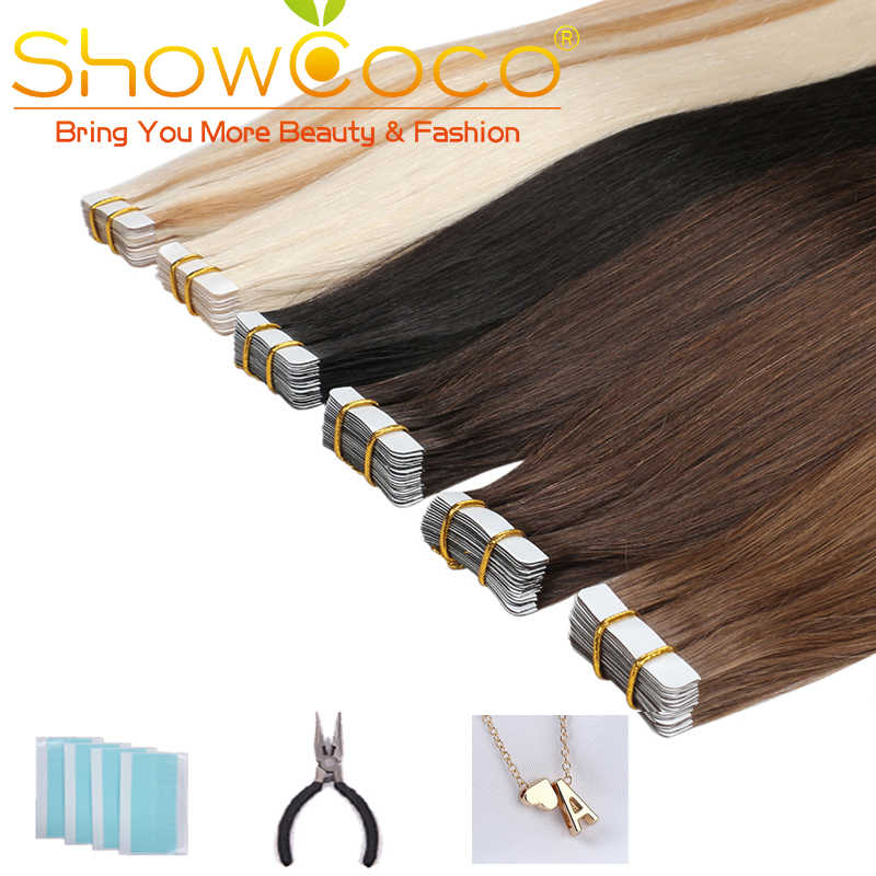 Showcoco Huid Inslag Tape In Human Hair 40Pcs Adhensive Machine Gemaakt Remy Steil Haar 16-24 Inch