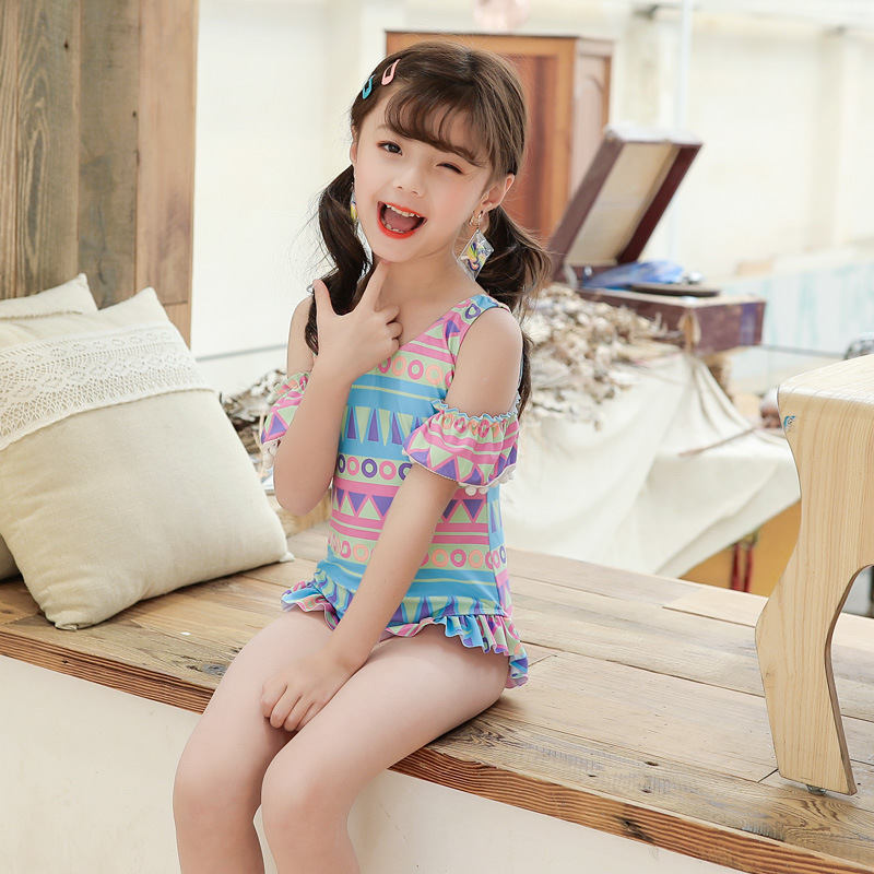 2019 South Korea Children New Style Frilled One-piece Cute Bathing Suit GIRL'S Swimsuit