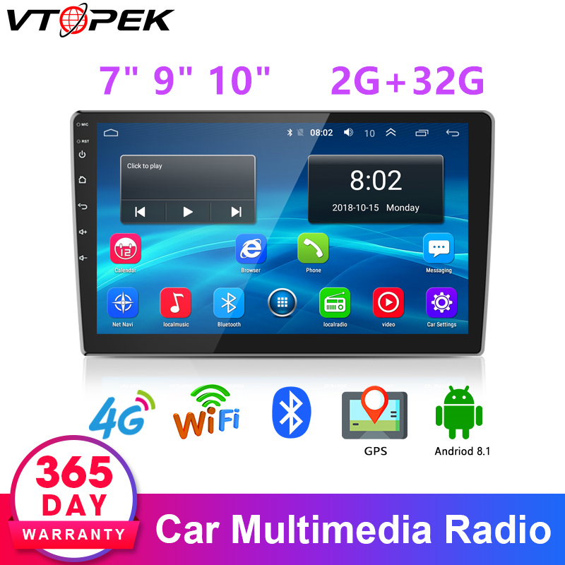 Vtopek <font><b>Android</b></font> Car Stereo Multimedia Player <font><b>Radio</b></font> Audio GPS navigation 4G network for KIA Hyundai Honda Mazda Nissan Toyota image