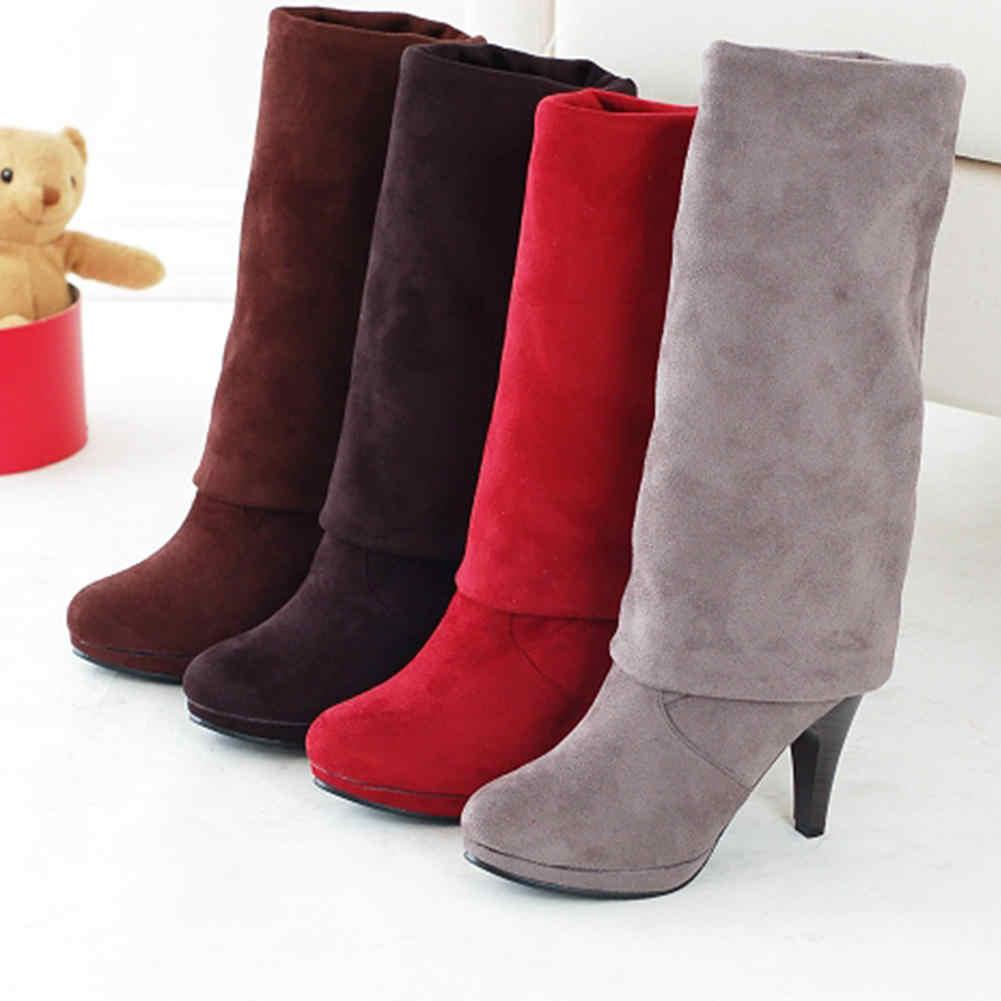 KarinLuna 2019 Klasik seksi bahar sonbahar Diz çizmeler üzerinde kadın ayakkabı Olgun büyük boy 43 çizmeler kadın yüksek topuklu ayakkabı kadın