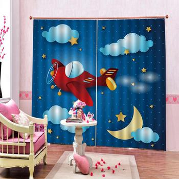 Drapes Cortinas Luxury Blackout 3D Window Curtains For Living Room Bedroom Customized size blue cartoon curtains