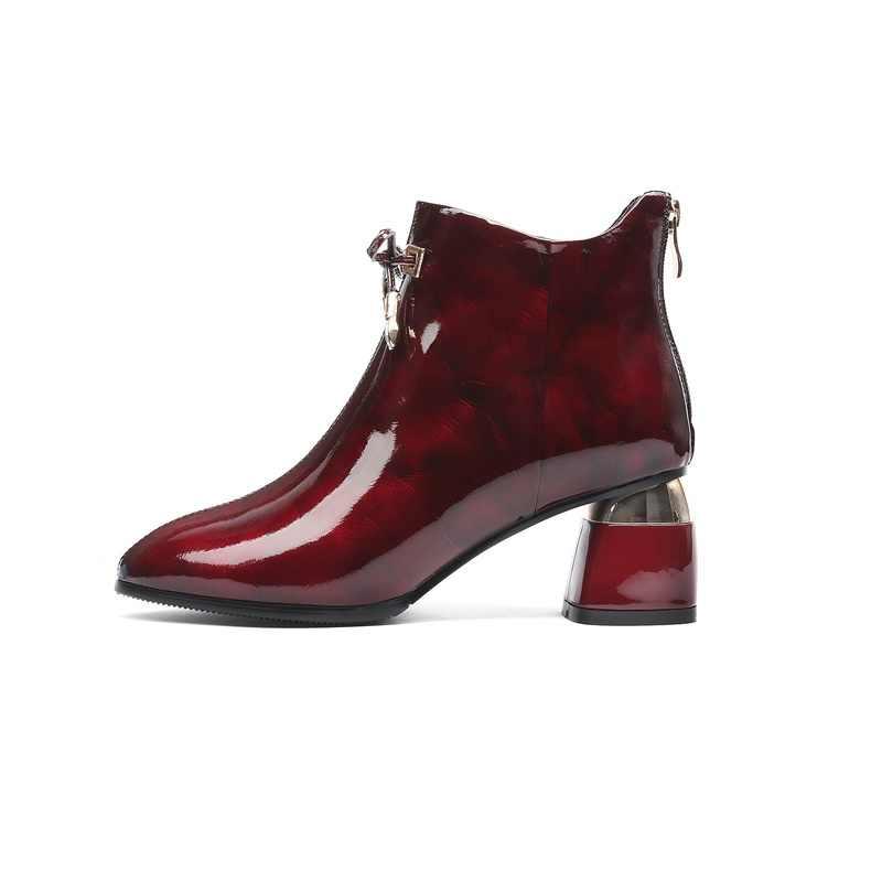 ZVQ damskie buty 2019 zima nowe mody sexy ciepłe buty do kostki ze skóry naturalnej na zewnątrz wysokie obcasy zip panie buty drop shipping