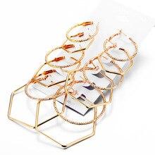 Gold earrings set Hexagon Crystal  geometric for women fashion drop Wedding Earrings jewelry 2019