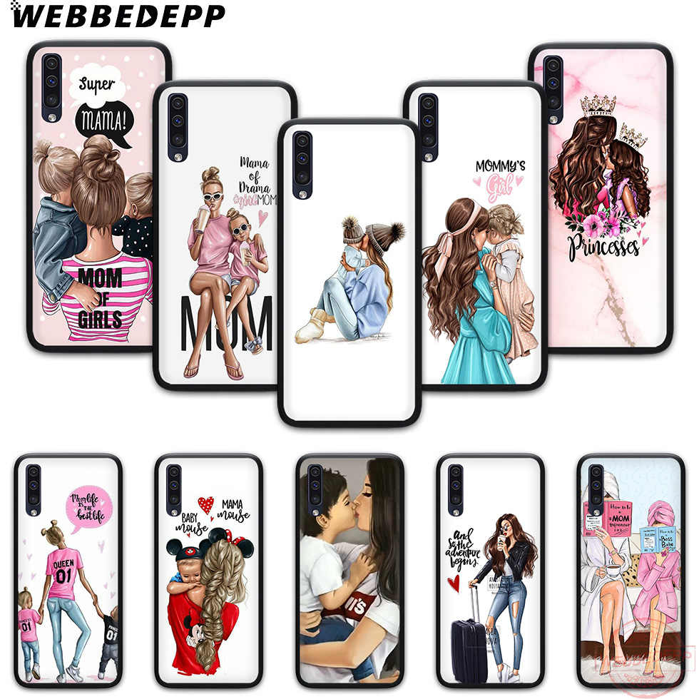 WEBBEDEPP Mom and daughter drawing Soft Phone Case for Samsung A10S A6 7 8 9 A10 20 A40 A50 A60 A70S M10 M20 30