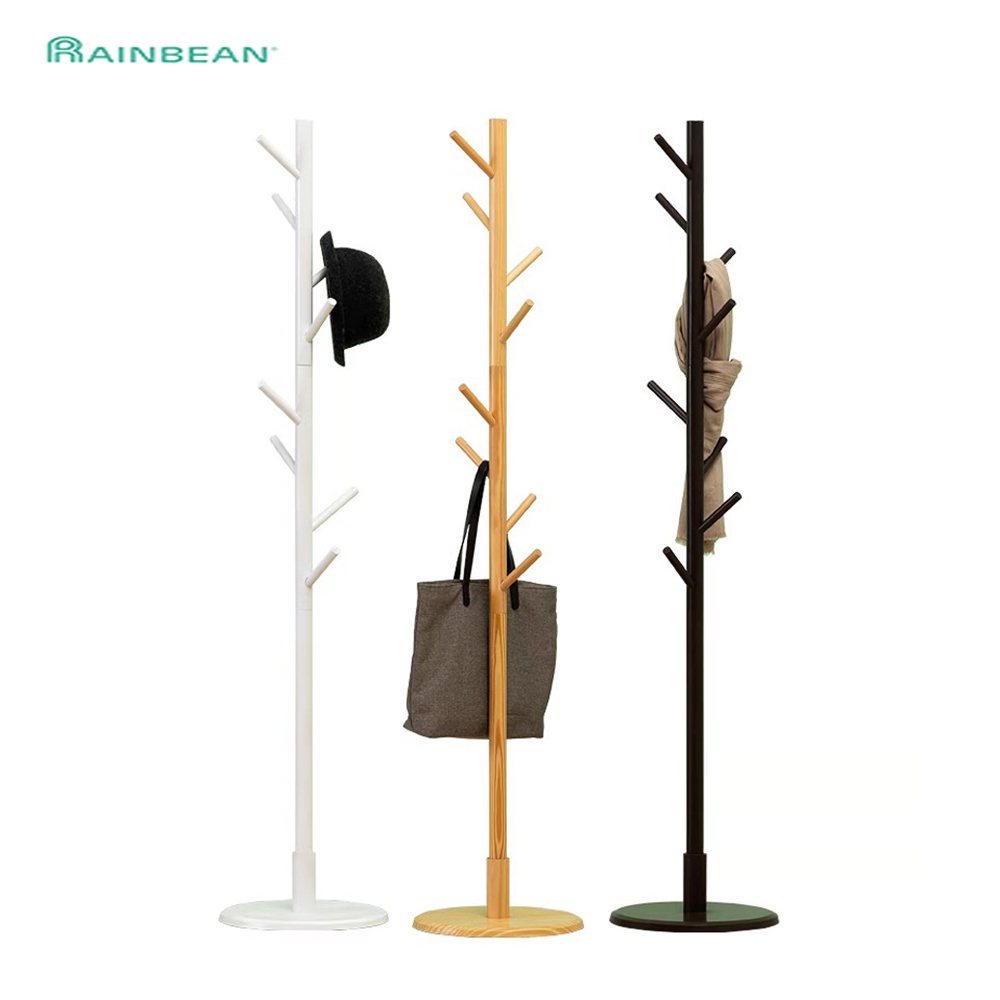 Premium Wooden Coat Rack Free Standing With 8 Hooks Wood Tree  Clothes Rack Stand For Coats Hats Scarves Clothes Handbags