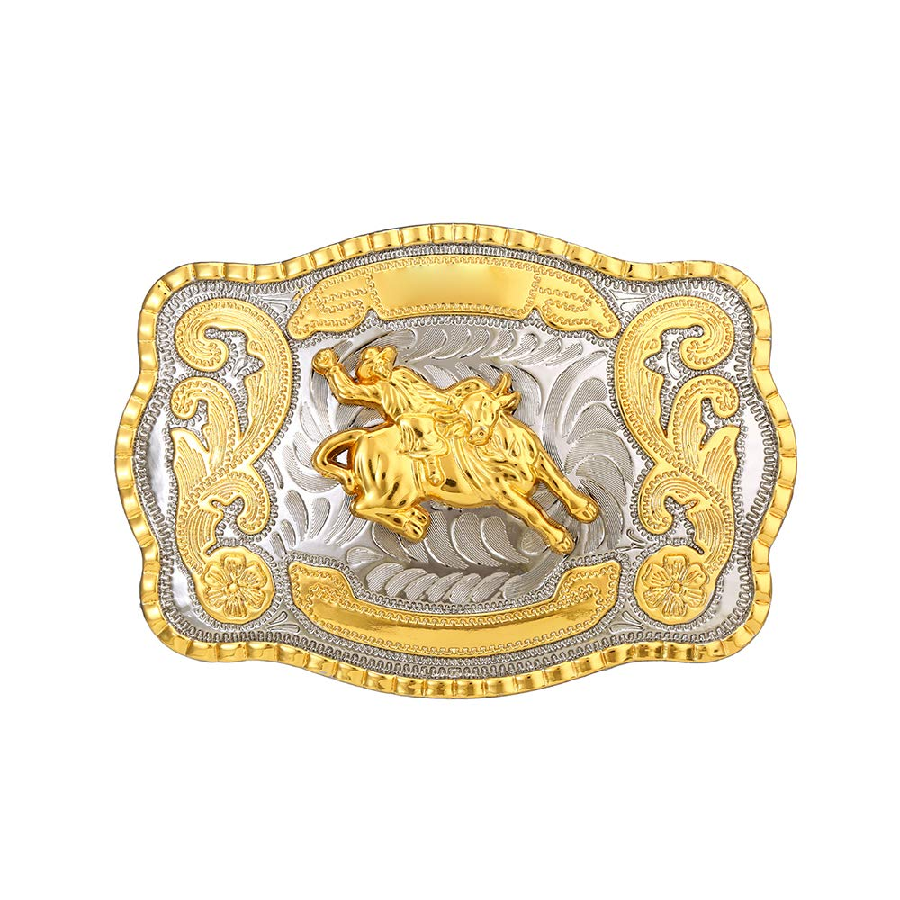 Biger Gold Silver Rectangle Ride Steven 2187  Buckle For Man Western Cowboy Buckle Without Belt Custom Alloy Width 4cm