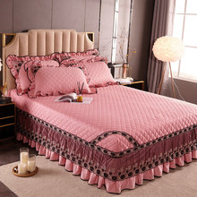 Korean Lace Bedspread Bedskirt 100% Cotton King Queen Quilted Bed Cover Elastic Full Twin Non-slip Dust Proof Fitted Sheet 3 pcs